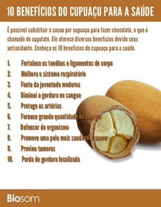 Clique na imagem ao lado e veja os 10 benefícios do Cupuaçu para a saúde…
