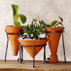 Handmade Ceramic Planter clay cone iron stand by GlinkaDesign