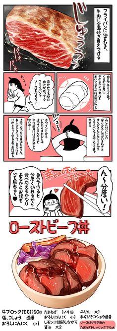 """うんめぇモノ杏耶(あやぶた丼) on Twitter: """"ド丼パ! 15杯目「ローストビーフ丼」 ●焼いたローストビーフはしばらく置いて熱くない状態で切ること。"""