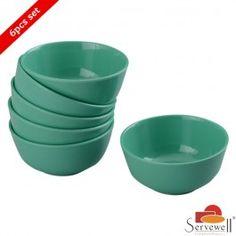 Servewell 6 Pc Round Veg Bowl Set - Sea Green