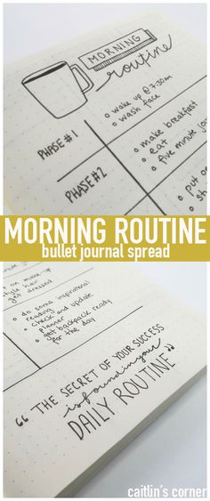 Bullet Journal MORNING ROUTINE spread...having a routine gets your day off to such a great start!