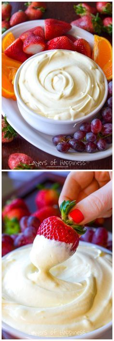 The Best Fruit Dip Ever Ingredients (serves 1 ounce) container Low-Fat Vanilla Yogurt 1 ounce) container Lite Cool Whip 1 ounce) box dry instant vanilla pudding mix Fruit for serving. (Dip Recipes For Chips) Bon Dessert, Dessert Aux Fruits, Dessert Dips, Just Desserts, Delicious Desserts, Yummy Food, Tasty, Health Desserts, Fruit Recipes