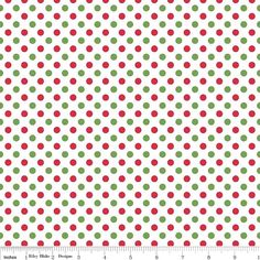Red Green and White Christmas Small Polka by RaspberryCreekFabric, $8.25