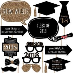 Big Dot of Happiness Graduation Party - Silver - 2018 Grad Photo Booth Props Kit - 20 Count Graduation Party Planning, Graduation Party Supplies, Graduation Decorations, Graduation Party Decor, Graduation Photos, Graduation Ideas, Graduation Cards, College Graduation, Graduation Desserts