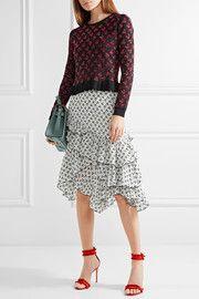 AltuzarraTucson ruffle-trimmed printed silk crepe de chine skirt
