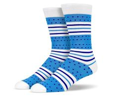 Blue White Dots and Stripes Socks