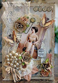 Scraps of Elegance scrapbook kits - Jan. Renea's Charm kit - Stunning vintage shabby chic altered book box by Renea Harrison