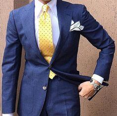 Blue suit with yellow polka dot tie #dottie