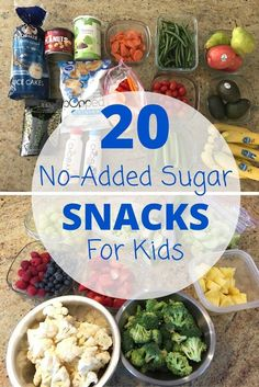 This list of no-added sugar snacks is a great reference of nutritious snacks for kids and parents looking for lower sugar options. /MomNutrition/