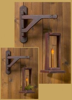 17 DIY Candle Holders Ideas That Can Beautify Your Room - EnthusiastHome - I love this! I have this in my dining room corner, really like it - Primitive Homes, Primitive Crafts, Wood Crafts, Country Primitive, Primitive Antiques, Primitive Lighting, Primitive Candles, Dining Room Corner, Palette Deco