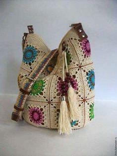 Ideas For Knitting Bag Crochet Granny Squares Bag Crochet, Crochet Handbags, Crochet Purses, Love Crochet, Crochet Granny, Crochet For Kids, Crochet Stitches, Crochet Patterns, Knitting Patterns