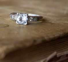 Vintage ART DECO Style Ring . Engagement Style by MaeClaraVintage