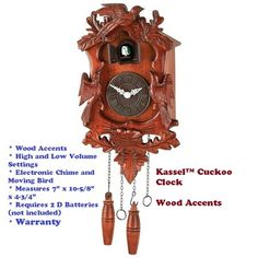 Kassel™ Cuckoo Clock Featuring Wood Accents Electronic Chimes And Cuckoos New