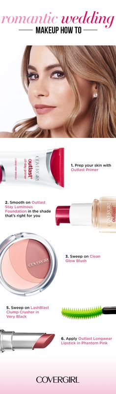 Follow this step-by-step guide to romantic wedding beauty. After applying your base, sweep on Clean Glow Blush. Follow up by stroking on Clump Crusher Mascara by LashBlast in Very Black for beautiful, clump-free lashes. For lip color that lasts well into the evening use Outlast Longwear Lipstick in Phantom Pink