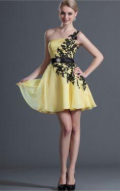 Daffodil A-line Short One Shoulder Dress