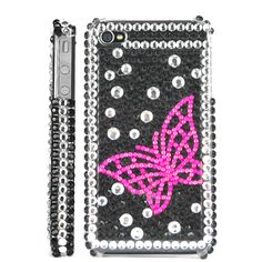 Butterfly Diamond Rhinestone Bling Hard Case for iPhone 4 iPhone 4S (Black / Pink)