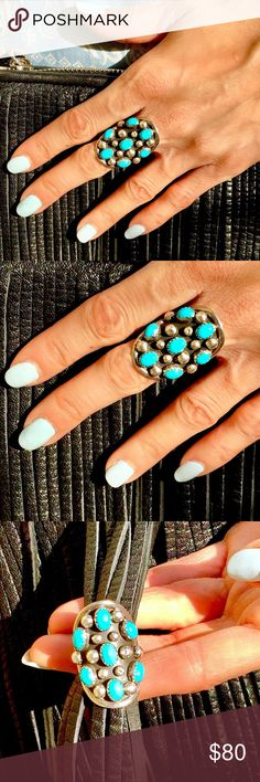 🔥VINTAGE STERLING SILVER *RARE* TURQUOISE RING! SALE $ FIRM.This is a POPPING,ULTRA COOL,CHIC & HOT Sterling Silver *Unworn*(!) Vintage Ring,Featuring *RARE*NO LONGER MINED,GENUINE ***SLEEPING BEAUTY TURQUOISE*** This ring is Gorgeous & FEELS AMAZING~ like second skin! Seven(7) Perfectly Matched & Magnificently VIVID Oval Turquoise Cabochons with Radiant & Stylish Sterling Silver Beads set into burnished silver background in a Dramatic Elongated Dome.Original Packaging,Artist Signed,Never…