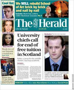 Herald ( Sunday September 16 2018) #news #newspaper We Will Rebuild, Herald News, September 16, Art School, Newspaper, Interview, University, Sunday, School Of Arts