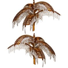 Pair of Palm Tree Gilt Chandeliers
