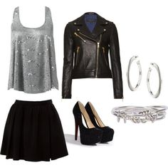Skater skirts, swing tank with leather jacket and silver accessories