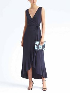 Banana Republic Ruffle-Wrap Maxi Knit Dress, Navy SIZE M #782595 v1028/111 in Clothing, Shoes & Accessories, Women's Clothing, Dresses | eBay