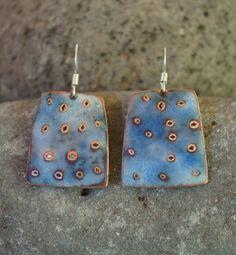 transparent blue enamel earrings | kathrynwatneenamels - Jewelry on ArtFire