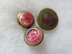 Lot of 3 Old Antique~ Vtg Metal Waistcoat BUTTONS w/ Pink GLASS Inserts, Shell++