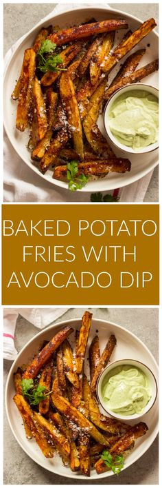 Baked Potato Fries with Avocado Dip Little Broken Baked Potato Fries with Avocado Dip Little Broken Terry Stutts Sweet Potato Fries Baked Potato Fries with Avocado nbsp hellip dip for fries Healthy Baked Potatoes, Best Baked Potato, Making Baked Potatoes, Sweet Potato, Seasoned Fries, Cooking Recipes, Healthy Recipes, Side Recipes, Healthy Food