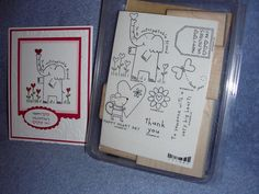 stampin up HAPPY HEART DAY-elephant-mouse-Valentine-butterfly-NEW-lot + card #StampinUp