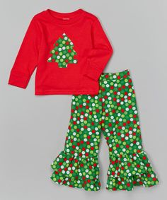 Look what I found on #zulily! Beary Basics Red & Green Christmas Tree Tee & Ruffle Pants - Toddler & Girls by Beary Basics #zulilyfinds