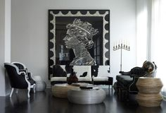 The Bungalow Hotel , designed by the Novogratz from SixxDesign I first spotted this queen stamp art piece on 9 by design & have been try. Eclectic Design, Interior Design, Interior Ideas, Interior Inspiration, Modern Interior, Modern Decor, Modern Art, Design Inspiration, Bungalow Hotel