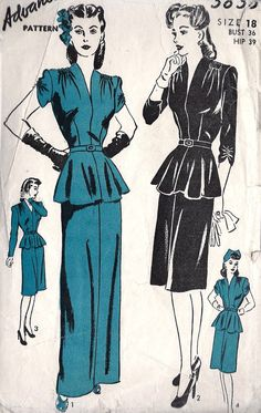 "1940s Misses Cocktail Dress or Evening Dress Vintage Sewing Pattern, Flared Peplum, Sexy, Advance 3825, bust 36"". $36.00, via Etsy."