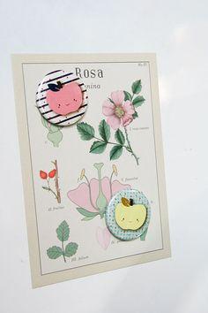 Magnet illustré  Navy  Pomme rose thème marin  rond    pink apple navy magnet   par pergelisol, €3.50