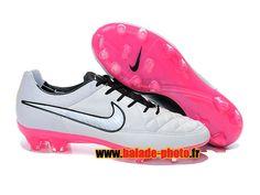 Nike Tiempo Legend V FG Chaussures de football Blanc Noir Rose 4317