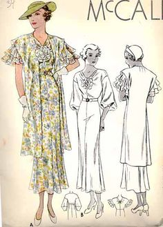 Early 30s art deco bias cut day dress over jacket ruffle puff sleeves long line skirt yellow grey color illustration print ad vintage fashion McCall 7861 | 1934 Ladies' & Misses' Jacket Dress