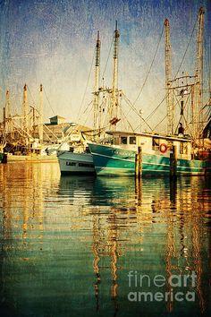 shrimp boats at the Pass Christian Harbor by Joan Peno McCool  jonicool.zenfolio.com