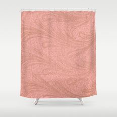 Pink And Copper Swirl Shower Curtain