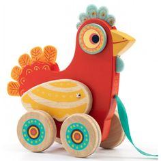 Houten trekdiertje – vogel Polka - Djeco