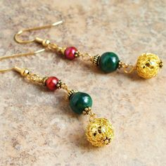 Gemstone Christmas Earrings Malachite and Pearl by mamisgemstudio, $12.95