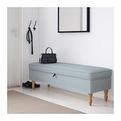 STOCKSUND Bench, Remvallen blue/white, light brown/wood - Remvallen blue/white - light brown - IKEA