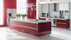 New Red Kitchen Design Art in 2012 Red Kitchen Cabinets, Red Kitchen Decor, Kitchen Island, Contemporary Kitchen Design, Interior Design Kitchen, Modern House Facades, Kitchen Modular, Sweet Home, Cuisines Design