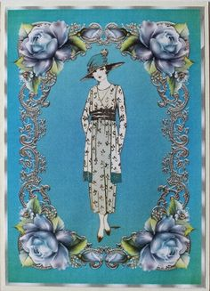 Lady Blue Vintage Clip Art Graphic Set by Taina Kankare Hobbies And Crafts, Handmade Crafts, Simple Designs, Vintage Designs, Card Making, Greeting Cards, Clip Art, Vintage Clip, Graphic Design