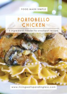 This flavor-packed portobello chicken recipe goes straight from freezer to crockpot with no effort at all! Easy Freezer Meals, Freezer Cooking, Recipe Using Chicken, Chicken Recipes, Portobello Chicken Recipe, Slow Cooker Recipes, Crockpot Recipes, Meat Chickens, Casserole Recipes
