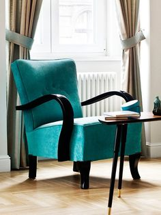 Restored turquoise art deco armchair from 1950's by updatechair