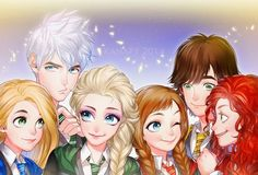 Class picture of Disney Young Adults. Anna,Jack Frost,Elsa,Merida,Rapunzel and Soluco.