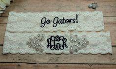 Monogrammed Garter, Rhinestone Garter, Bling Garter, Florida Gators Garter, Navy Blue Garter, Sports Team Garter, Garter, Something Blue by BloomsandBlessings on Etsy