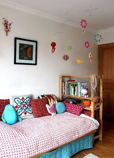 Sacha & Iris' Playful Sleep Space Kids Room Tour: color combo ideas #apartmenttherapy