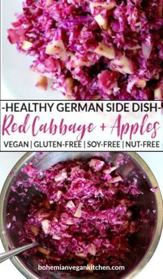 Enjoy a healthy serving of this gorgeous red cabbage and apples, complete with Balvarian influence, for a delicious vegan German experience. #vegangermanfood #vegangermanrecipes #vegangermanslaw  #vegangermanredcabbage #bohemianvegankitchen Raw Vegan Recipes, Vegan Gluten Free, Gluten Free Recipes, Family Recipes, Family Meals, Vegan Detox, Vegan Side Dishes, Vegan Lunches, Vegan Kitchen