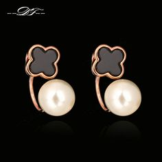 Unique Design Simulated Pearl Beads Vintage Acrylic Fashion Brand Stud Earrings Jewelry For Women Austrian Brincos joias DFE281