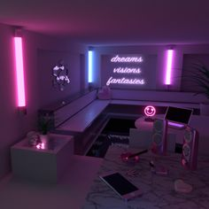 Aesthetic rooms - all i see is you Neon Bedroom, Room Ideas Bedroom, Girls Bedroom, Bedroom Decor, Neon Lights Bedroom, Teenage Bedrooms, Bedroom Lighting, Dream Rooms, Dream Bedroom
